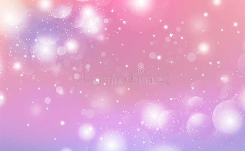 抽象背景,不可思议的幻想星闪耀,星系,紫色迷离季节性假日庆祝传染媒介 皇族释放例证