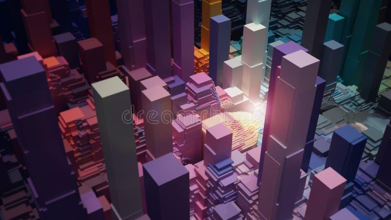 抽象背景,与光,3D的五颜六色的块回报 向量例证