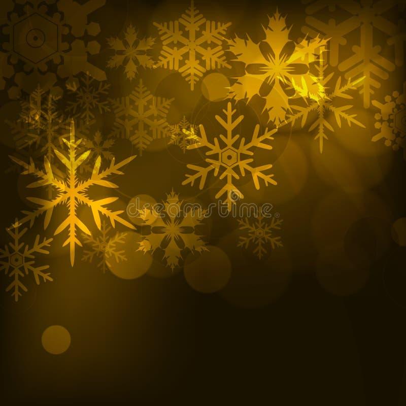 抽象背景,与星、雪花和模糊的光 免版税库存图片
