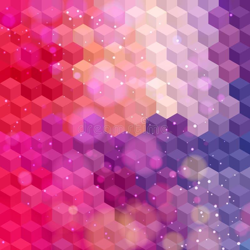 抽象背景,五颜六色的形状立方体马赛克 皇族释放例证