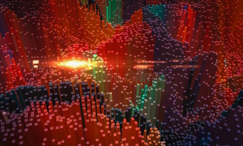 抽象背景,在红色的小五颜六色的块与透镜,3D回报 皇族释放例证