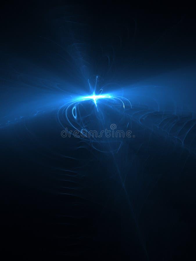抽象背景,在黑暗的天空, 3d的蓝色光线影响例证 图库摄影