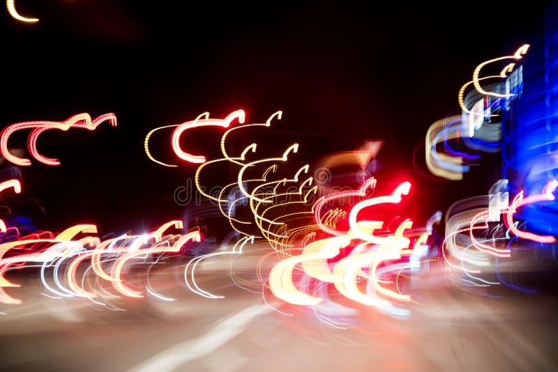 抽象背景,夜高速公路的光,光落后 库存图片