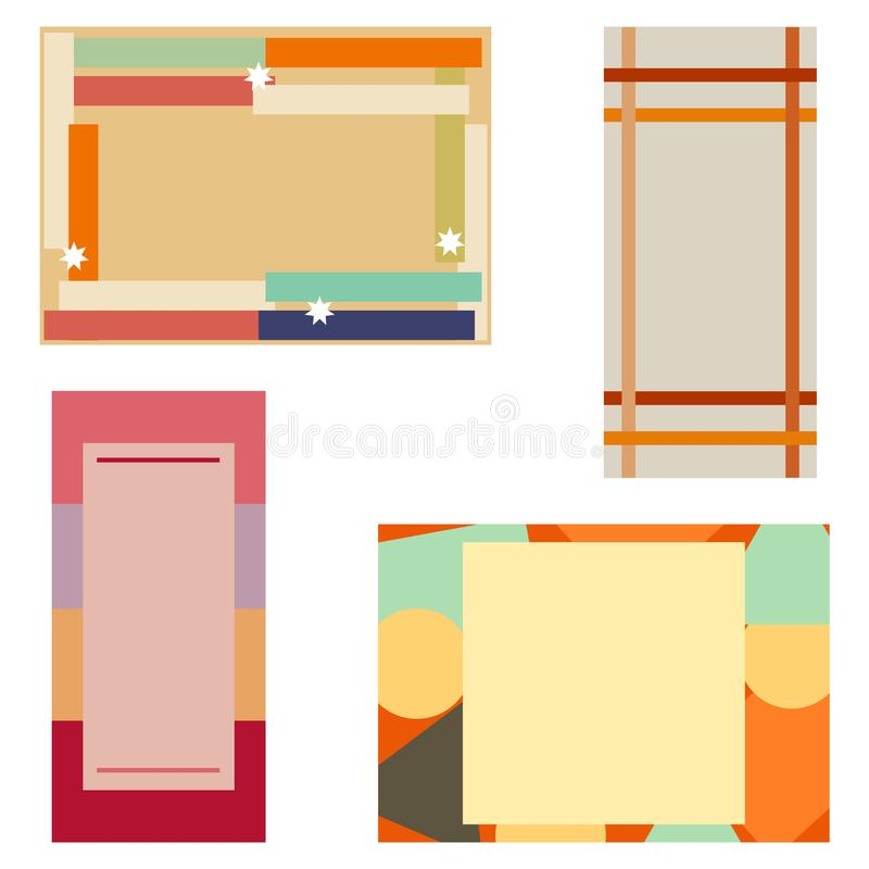 抽象背景,套几何卡片 库存例证