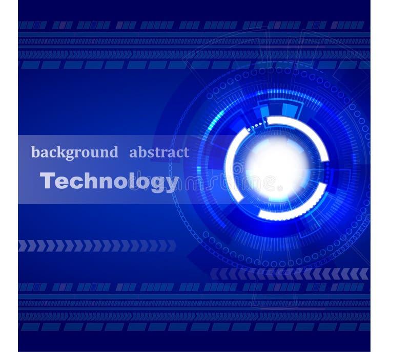 抽象背景,技术,蓝色,文本,运动,焕发的标志 皇族释放例证