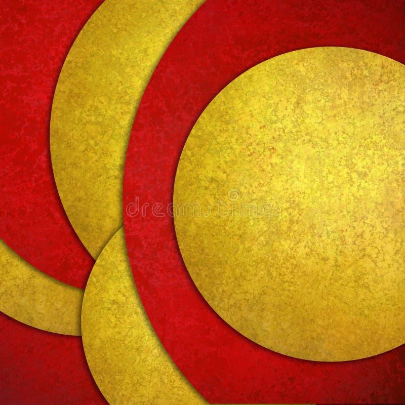 抽象背景,红色黄色在任意样式的层状圈子形状设计与纹理 皇族释放例证