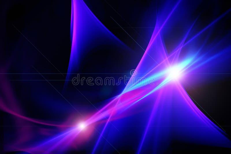 抽象背景,蓝色,桃红色,紫色,闪烁,光线影响o 库存例证