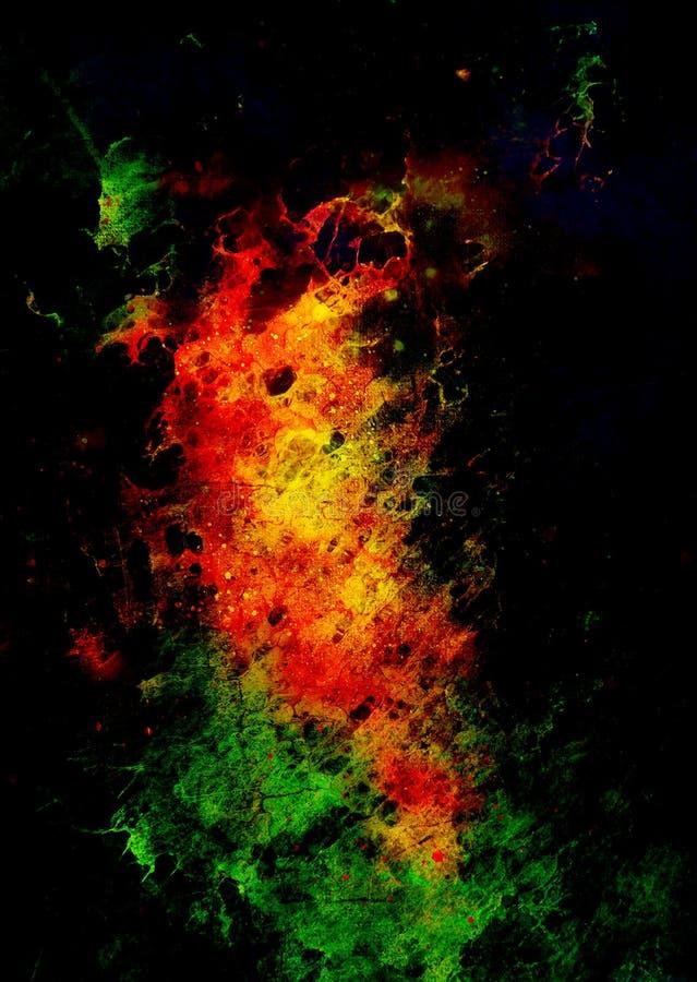 抽象背景 与斑点的颜色背景 绿色,红色和黑颜色 皇族释放例证