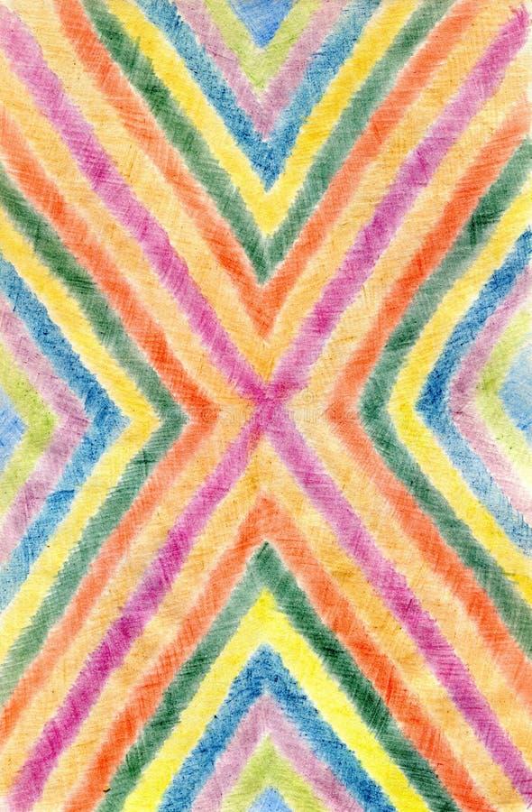抽象背景画与色的铅笔,作者的wo 免版税库存照片