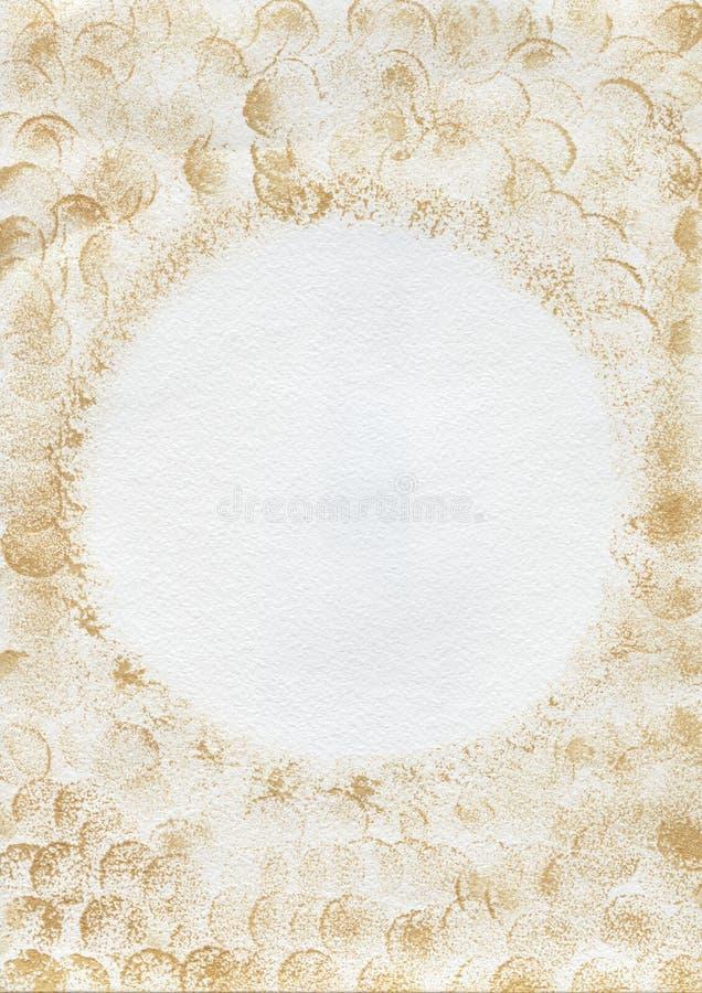 抽象背景 与金黄油漆污点的白色背景 免版税库存图片