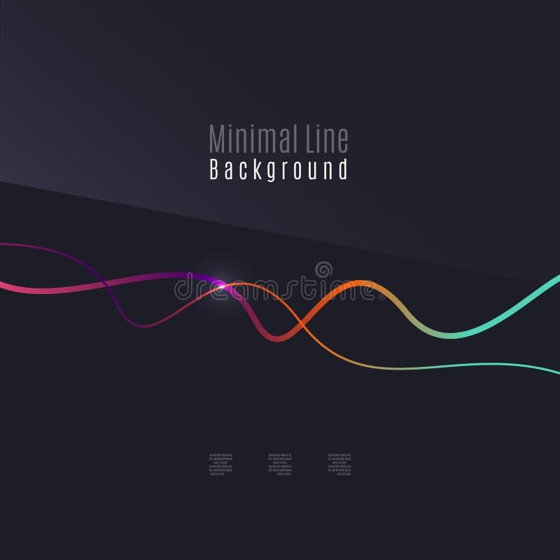 抽象背景 在黑暗的背景的波浪五颜六色的swirly线 向量例证