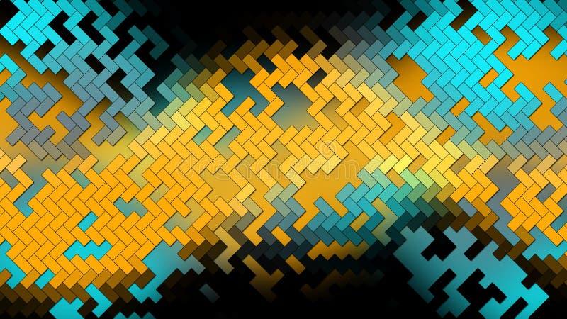抽象背景-小几何长方形砖-深蓝和黄色颜色 向量例证
