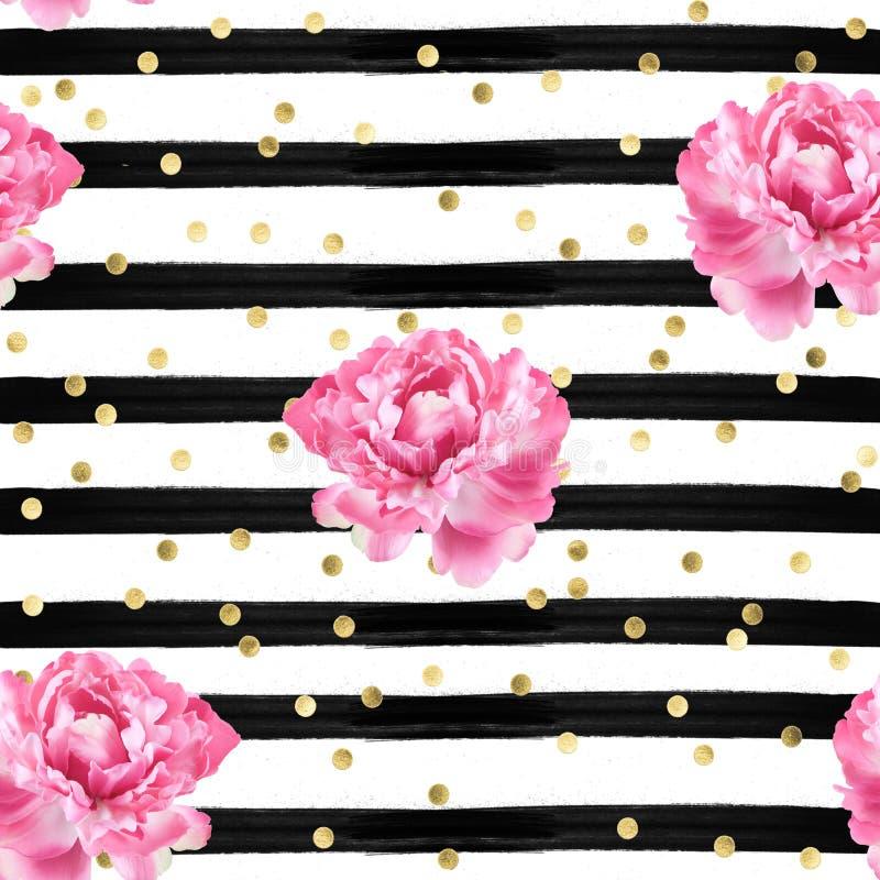抽象背景-水彩镶边-金五彩纸屑和桃红色玫瑰-无缝的样式墙纸 库存例证