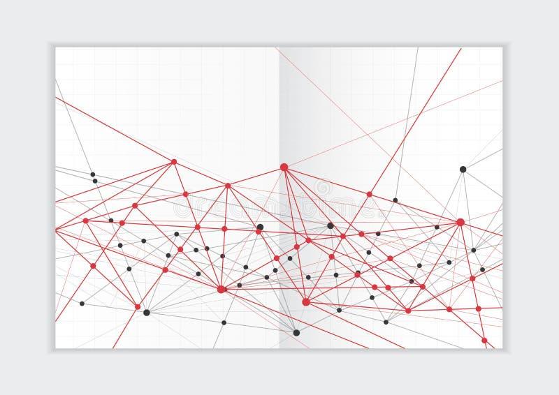 抽象背景年终报告模板,几何三角设计企业小册子盖子 皇族释放例证