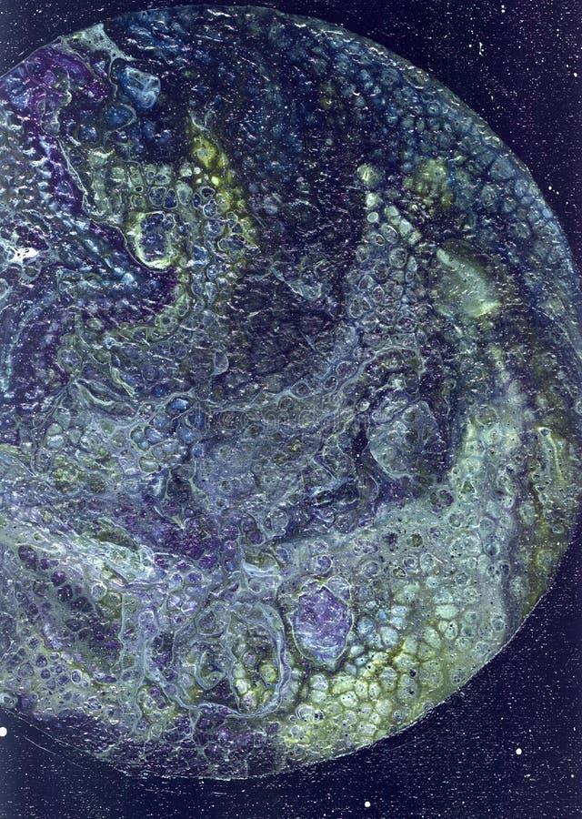 抽象背景 抽象纹理 液体丙烯酸酯 可变的艺术 空间背景 与丙烯酸漆的图 库存图片