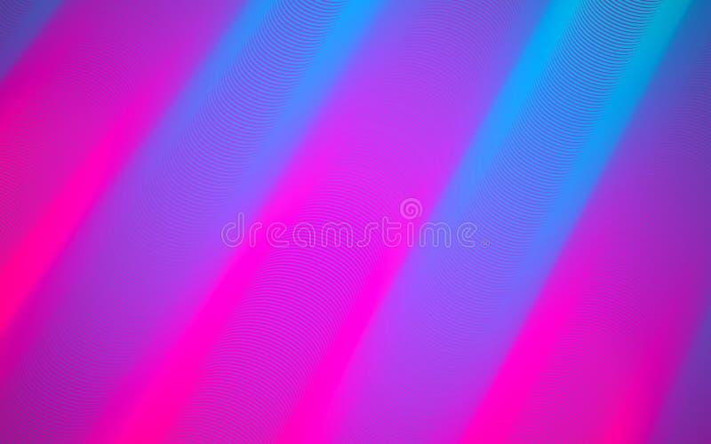 抽象背景 明亮的桃红色和蓝线 现代样式构成 颜色发光的管子 Minimalistic设计 库存例证