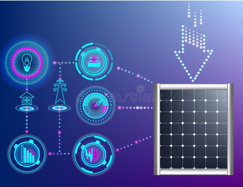 抽象背景Eco绿色能量概念,传染媒介,在太阳pannels控制的现代技术 皇族释放例证