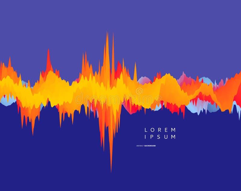 8抽象背景eps文件包括的波形形式 3D技术样式 与声波的传染媒介例证 库存例证
