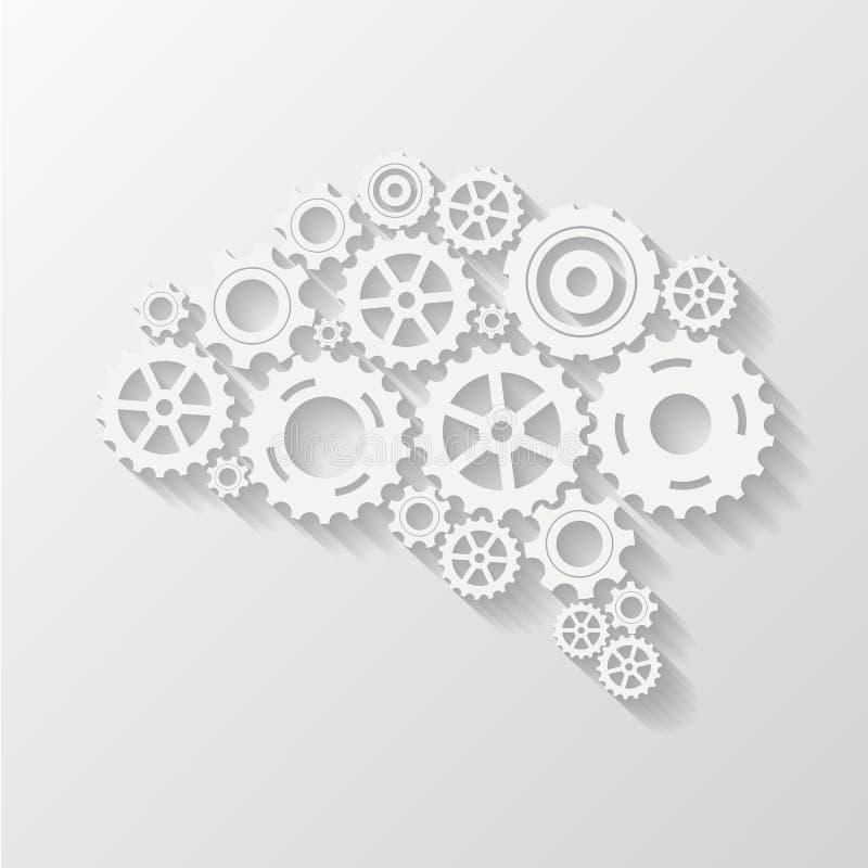 抽象脑子齿轮 库存例证