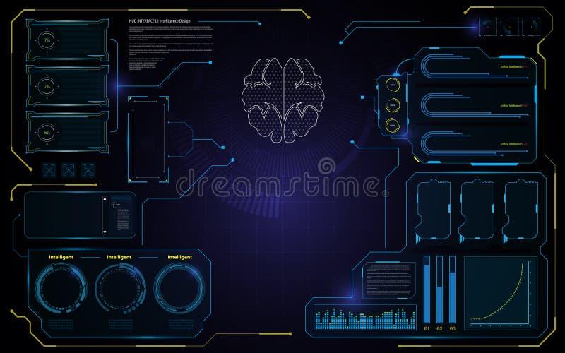 抽象脑子HUD接口UI设计技术电信创新概念模板背景 库存例证