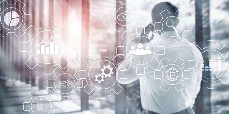 抽象自动化创业贷款及科技法人概念 与齿轮和象的图在虚屏上 免版税图库摄影