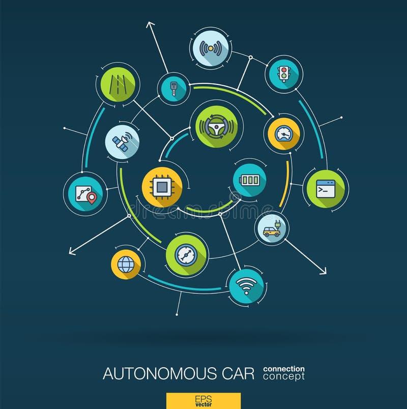 抽象自治电车,自驾驶,自动驾驶仪背景 数字式用联合圈子连接系统 库存例证