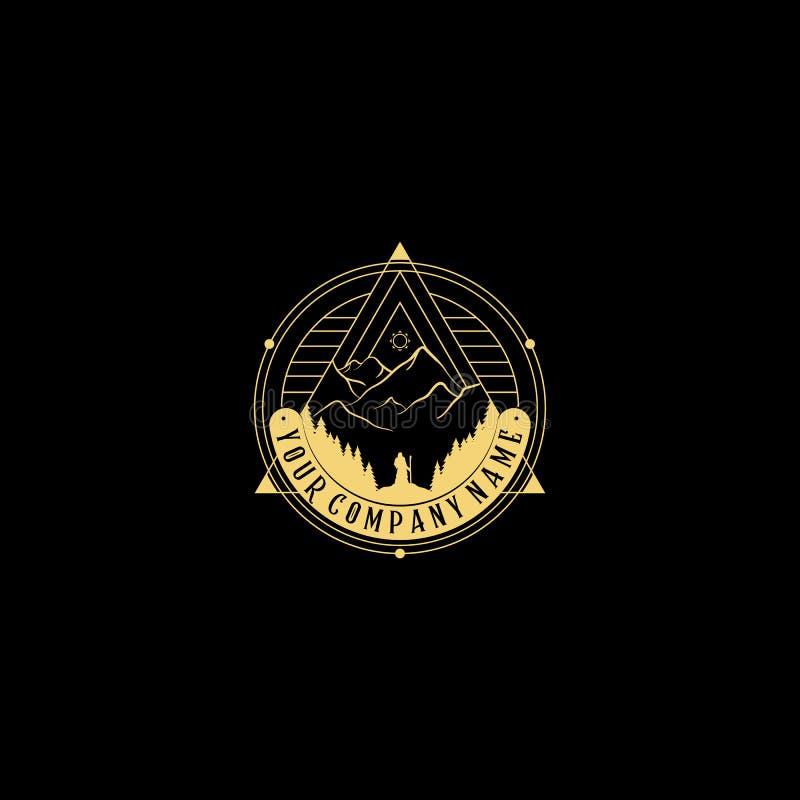 抽象自然商标 传染媒介几何徽章 神圣的冶金标志 抽象形状概述象,piramyd -企业象征 向量例证