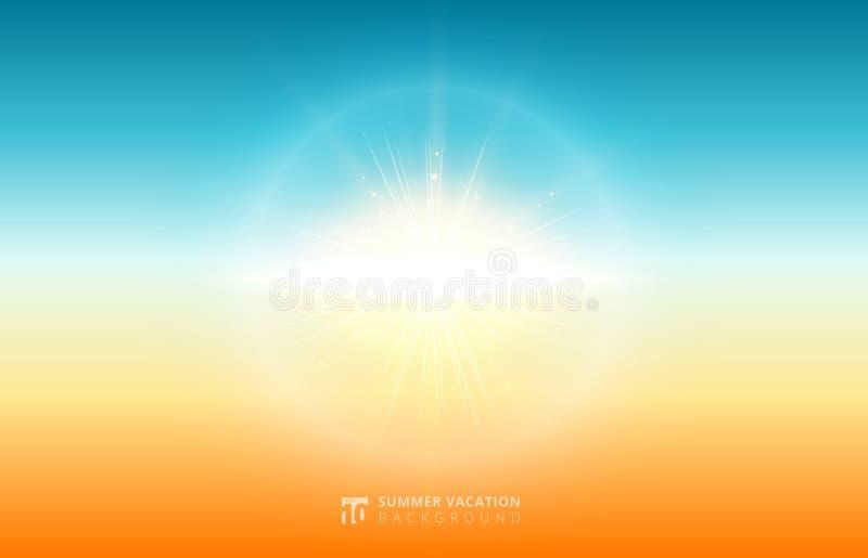 抽象自然弄脏了天空背景与flar的夏天阳光 向量例证