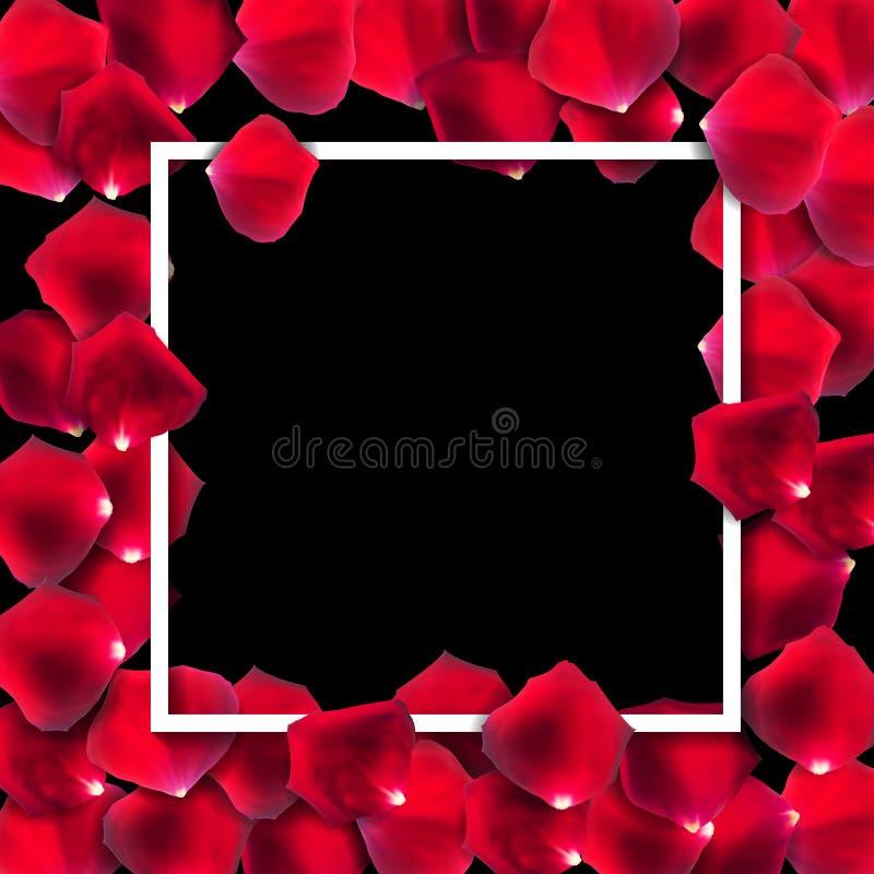 抽象自然玫瑰花瓣框架背景现实传染媒介我 库存例证
