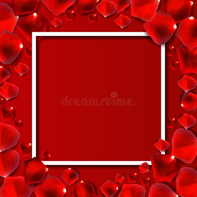抽象自然玫瑰花瓣框架背景现实传染媒介我 皇族释放例证