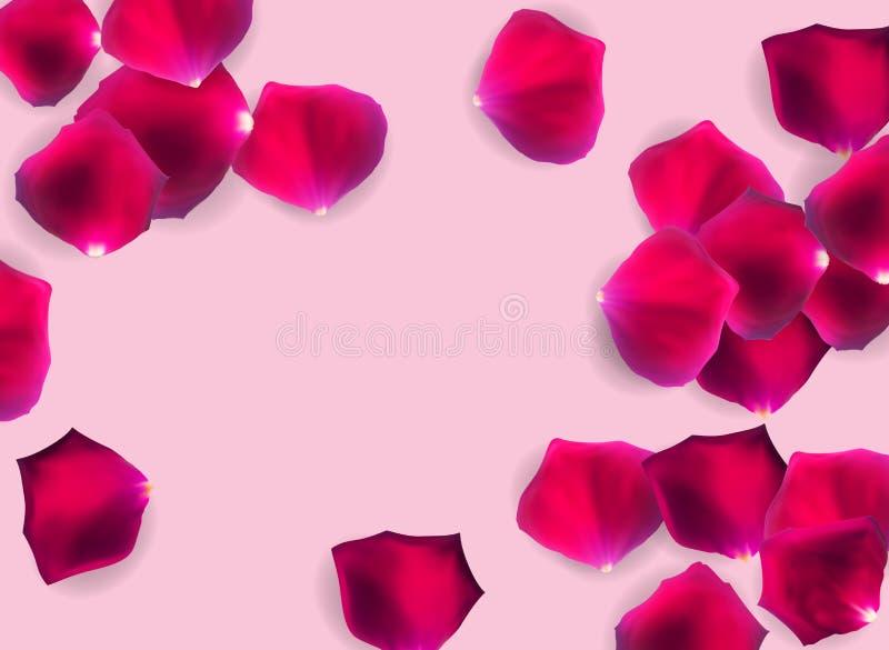 抽象自然玫瑰花瓣o背景现实传染媒介例证 向量例证