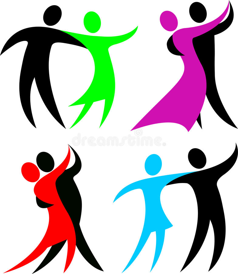 抽象舞厅舞蹈演员eps 向量例证