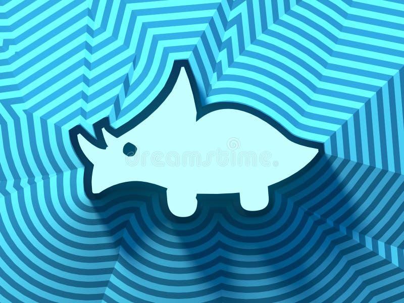抽象色的动画片恐龙标志,按钮,五颜六色的标志 3d翻译 库存例证