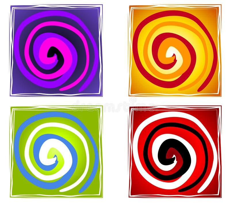 抽象艺术性的螺旋瓦片 库存例证