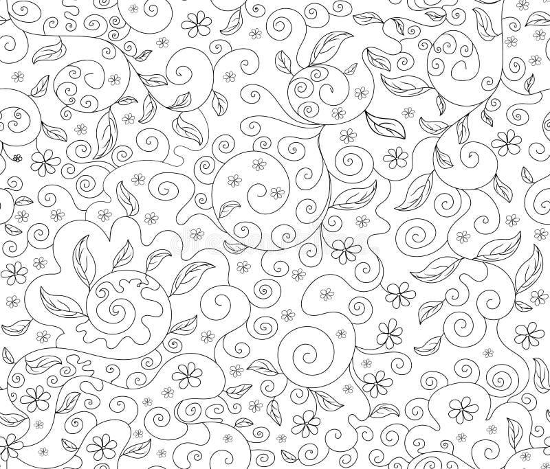 抽象花卉与花和叶子,装饰计算的线的传染媒介无缝的样式 库存例证