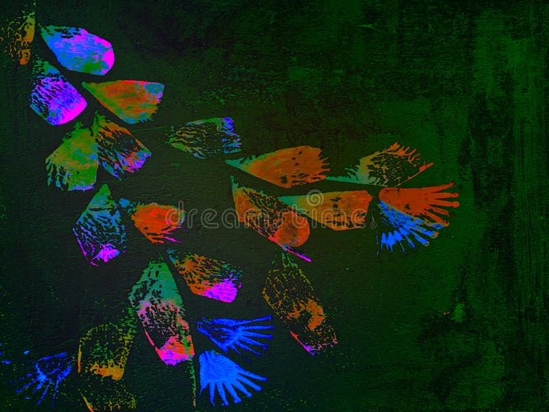 抽象花卉五颜六色的织地不很细手画背景 免版税库存照片