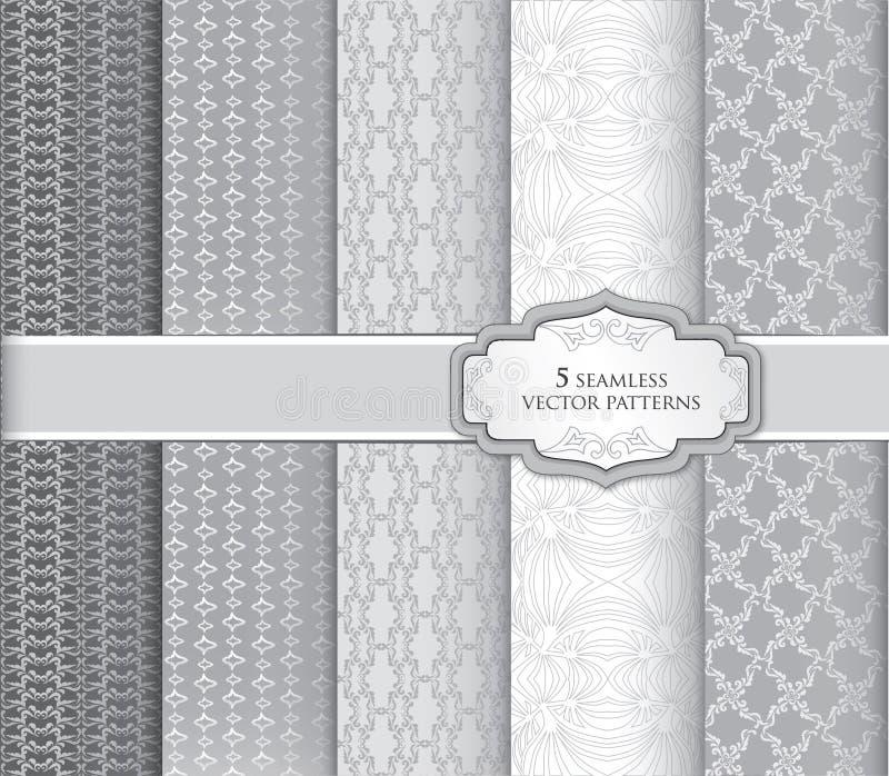 抽象花卉几何纹理 装饰样式集合 向量例证