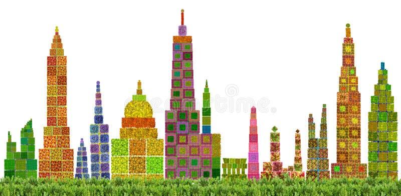 抽象花卉城市地平线 库存照片