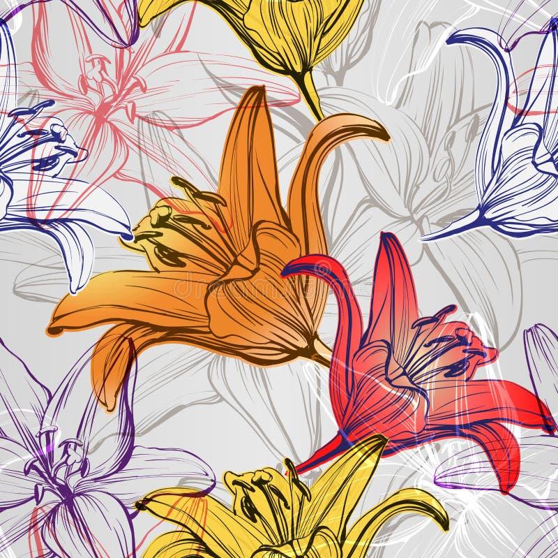 Download 抽象花卉开花的百合背景纹理手拉的传染媒介例证 库存例证. 插画 包括有 增长, 本质, 花卉, 装饰, 装饰品 - 72354802
