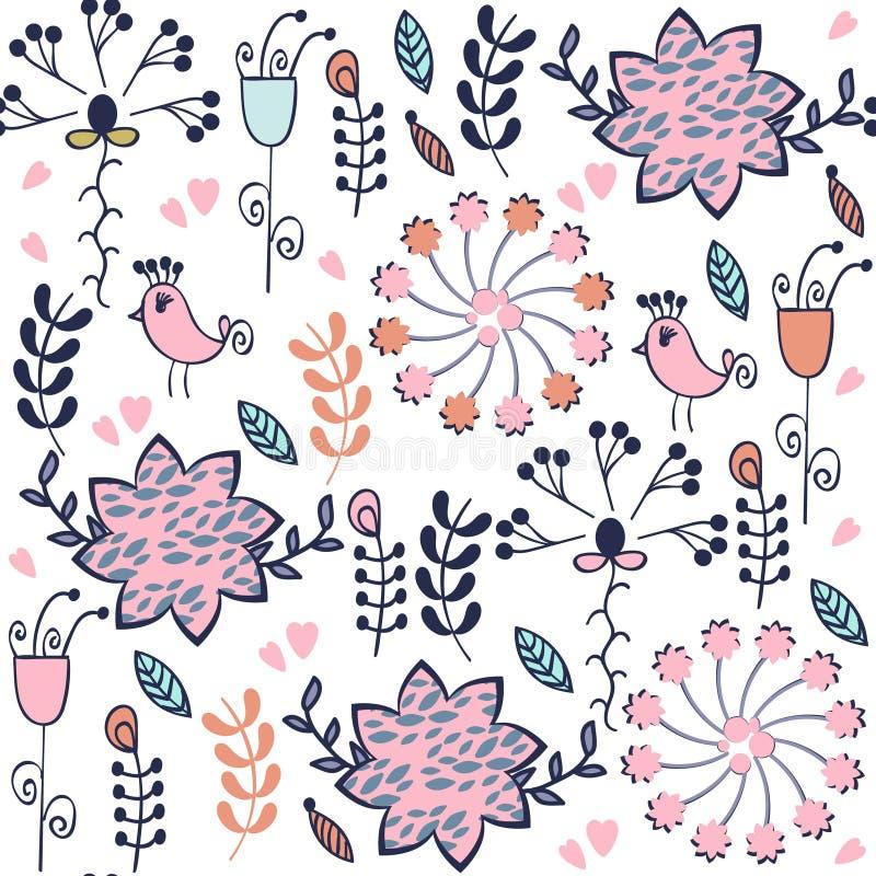 抽象花卉无缝的可爱的柔和的高雅样式与 库存例证