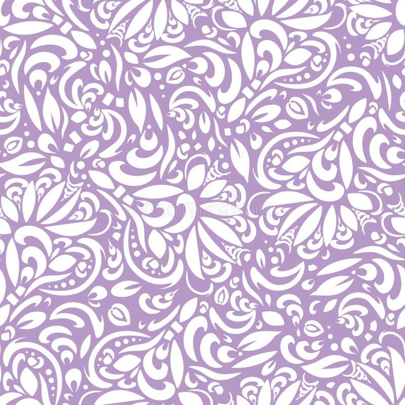 抽象花卉无缝的样式,与白色叶子的背景 EPS10 免版税库存照片