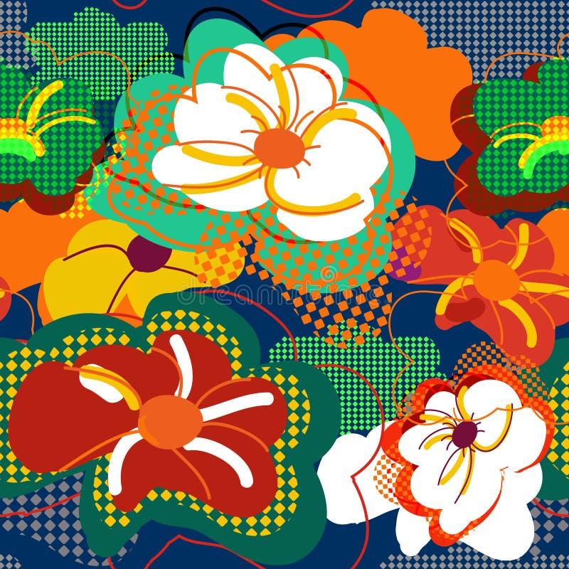 抽象花卉无缝的纹理 库存例证