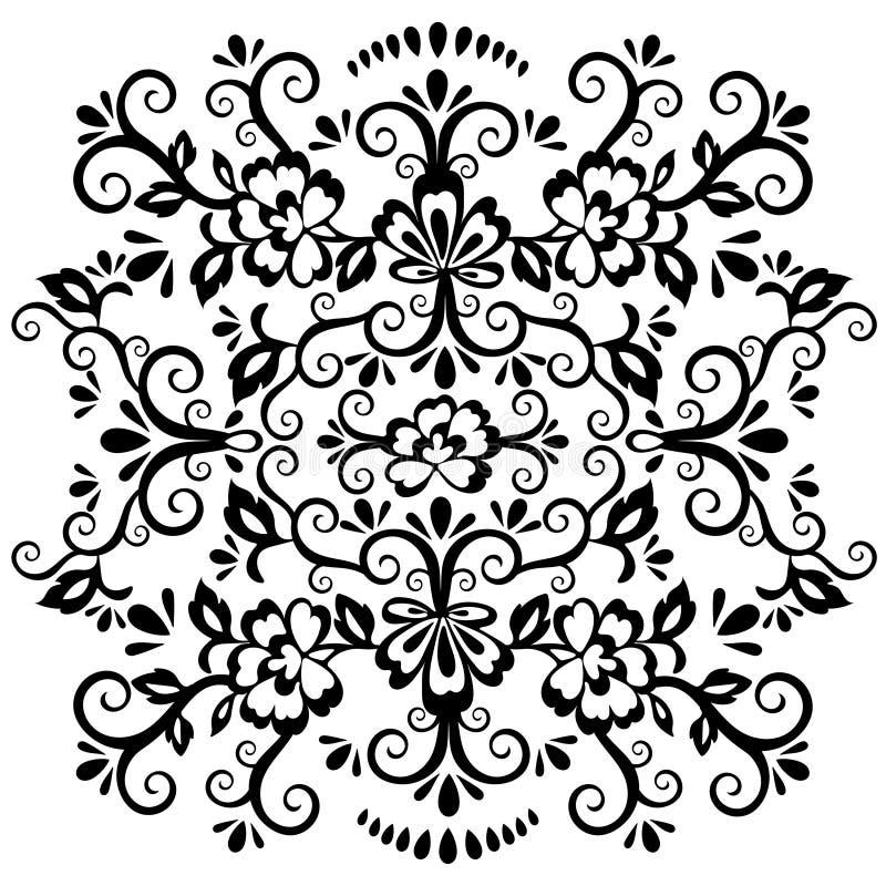 抽象花卉样式,传染媒介柳条装饰品 在东部样式的黑华丽网眼图案与很多卷毛和许多细节, arabe 向量例证