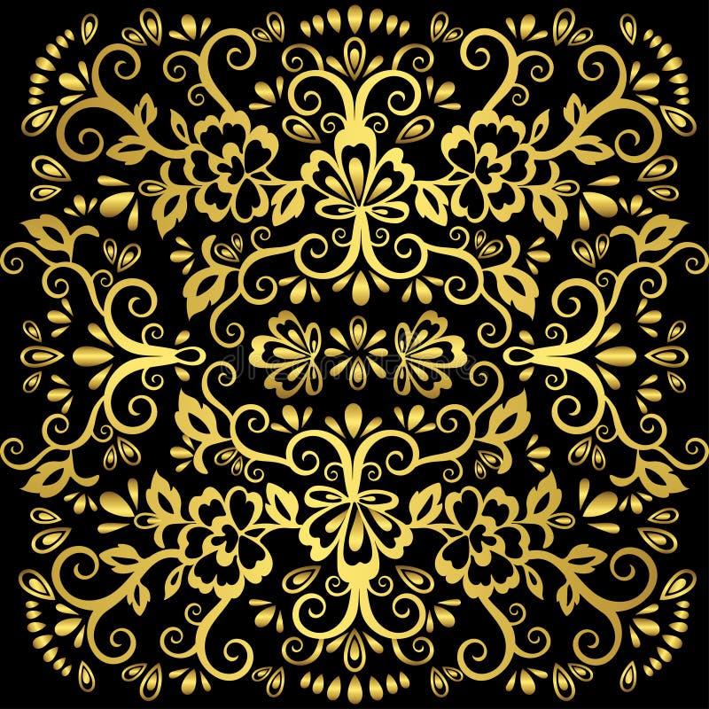 抽象花卉样式,传染媒介柳条装饰品 在东部样式与很多卷毛,蔓藤花纹,装饰elemen的金华丽网眼图案 库存例证