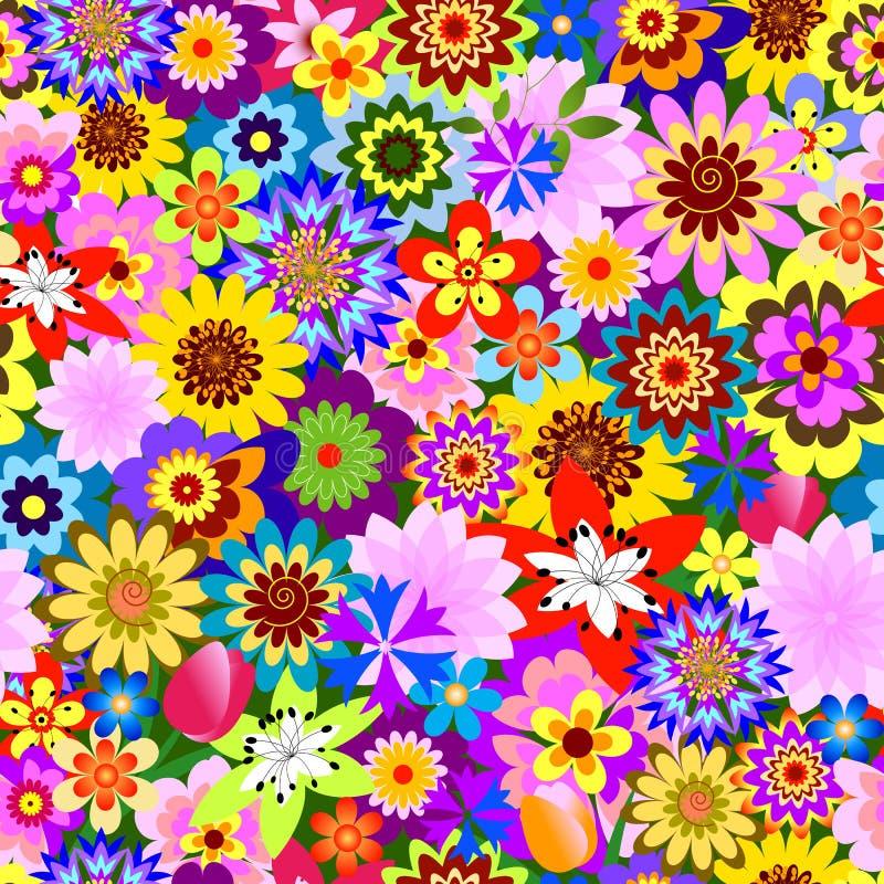 抽象花卉模式无缝的向量 皇族释放例证