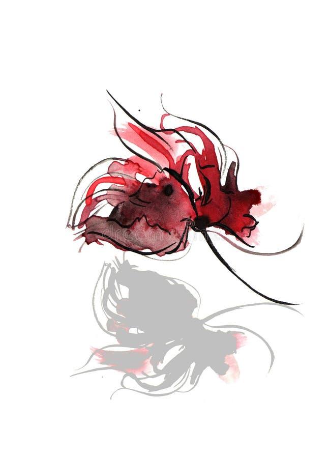 抽象花卉水彩 皇族释放例证