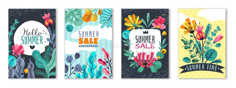 抽象花卉海报 春天夏天花园横幅盖子卡片邀请飞行物小册子花贴墙纸 向量例证