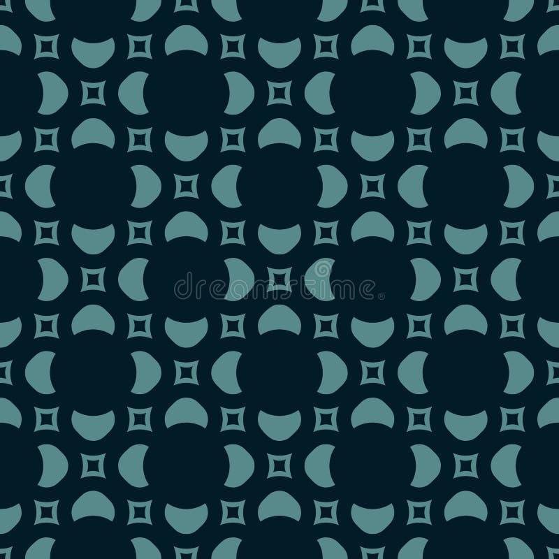 抽象花卉纹理 在黑色和小野鸭颜色的几何无缝的样式 向量例证