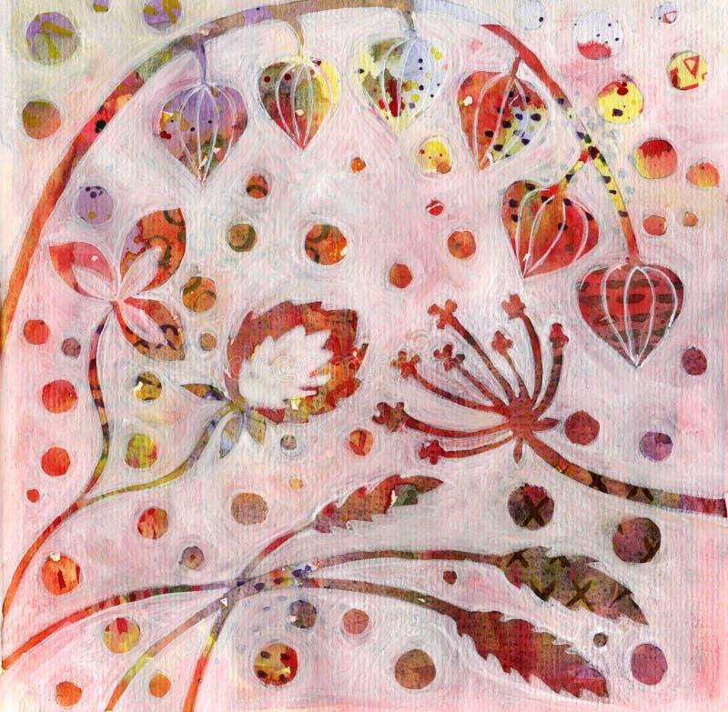 抽象花卉背景用狂放的草本 皇族释放例证