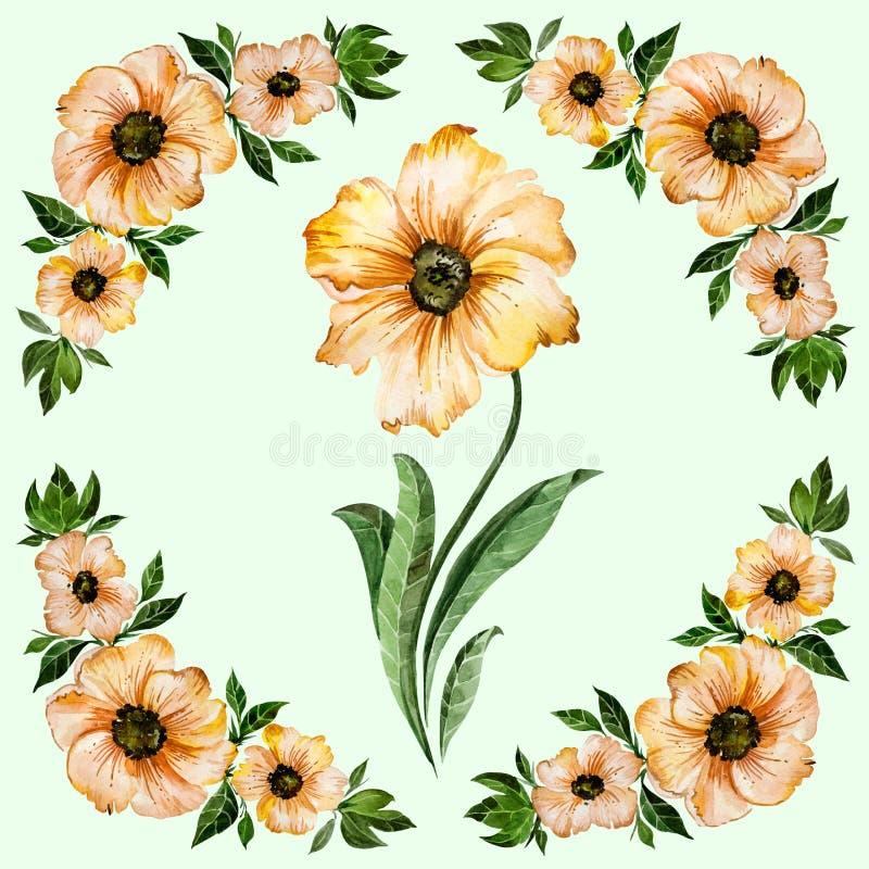 抽象花卉背景 与绿色叶子的美丽的黄色花 在浅绿色的背景的圆的样式 多孔黏土更正高绘画photoshop非常质量扫描水彩 库存例证